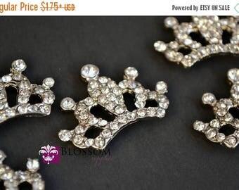ON SALE Metal Rhinestone FLATBACK Princess Crown Embellishments 33x23mm - Flower Centers - Wedding Bridal Prom - Tiara Craft Supplies Wholes