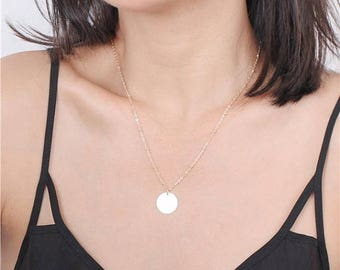 ON SALE Delicate simple everyday simple plain disc satellite chain necklace