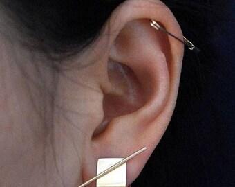 ON SALE Delicate simple sleek folded bar &Long skinny bar ear studs - two ways earrings - sleek earrings