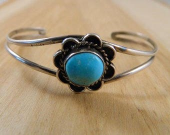 Vintage Sterling Silver and Turquoise Cuff Bracelet / Delicate and Dainty Floral Turquoise Cuff / Native American Jewelry
