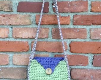 Multi-colored crochet purse