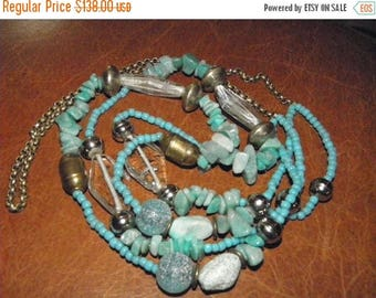 """10% OFF Vintage Turquoise 36"""" Multi Shaped Glass/Silver Beaded & Nugget Necklace, Sea Glass, Hand Blown Glass Beads, Frosted, Brass Box Chai"""