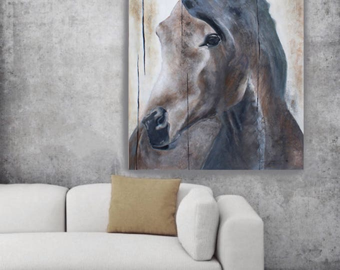 SALE, Horse LeMuse, Original Original Rustic Horse Oil Painting on Unstretched Canvas 48 x 72 inches