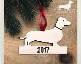 Doxie. 2017 Wood Ornament -- (Limited Edition, Dachshund, Long Dog, Vintage-Style, Sausage Dog, Christmas Gift, Stocking Stuffer, Under 10)