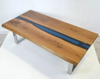 Resin River Coffee table -Natural live edge Walnut slab and chrome steel base table **SAMPLE SALE**