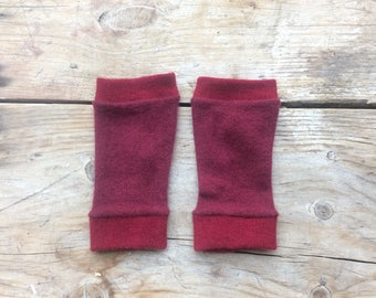 XS Fingerless Gloves in deep reds, cashmere, wrist warmers, typing gloves in greys