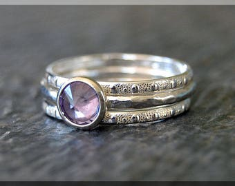 Sterling Silver Birthstone Ring Set, Choose Your Birthstone, Stacking Gemstone Ring, Hammered Shank Ring, Set of 3 Rings,  Inverted Setting