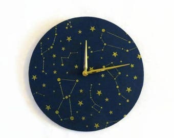 Wall Clock, Astrology, Astronomy Clock, Navy Blue and Gold Glitter,  Home and Living, Home Decor, Decor & Housewares