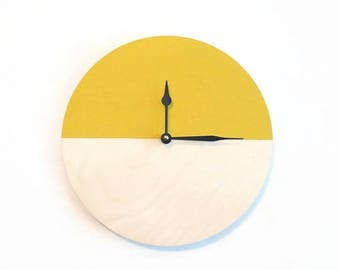 Yellow Wall Clock, Wood Clock, Wandklok, Trending Home Decor, Decor and Housewares. Home and LIving, Clocks