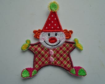 Iron on or sew on applique or patch of  a Circus Clown