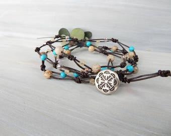 Turquoise Knotted Bracelet. Coral Fossil Agate. Stone Bracelet. Fairy Lace Bracelet. Handmade Summer Jewelry. Boho Bracelet. Hipster Jewelry