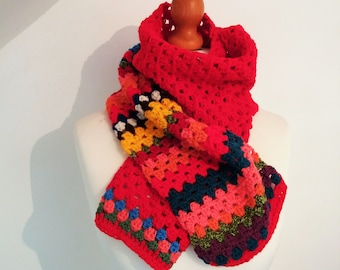 Colourful Red Crochet Scarf