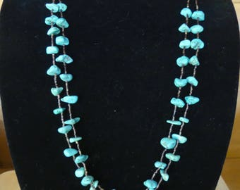 32 Inch Vintage Double Strand Basalt Turquoise Nugget and Brown  Heishi Necklace