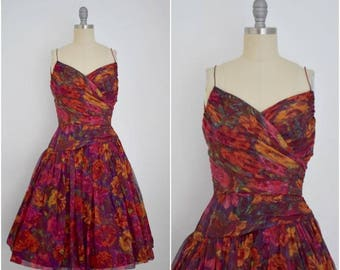 Vintage 1950s Red Floral Silk Chiffon Party Dress