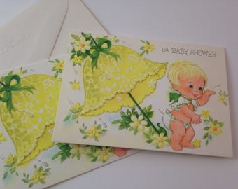 vintage unused baby shower invitation set of 2 by hallmark with envelopes, yellow, unisex, free shipping