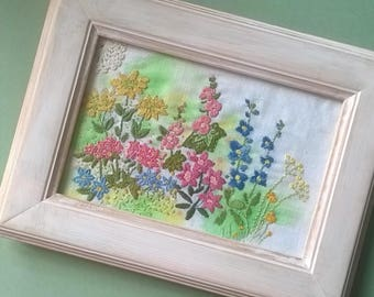 Embroidered flower picture, vintage linen, textile art, hand-stitched,