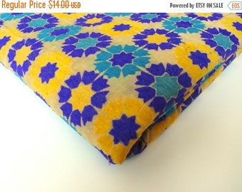 ON SALE Yellow purple graphic flowers  India silk brocade fabric nr 164 fat quarter