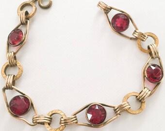 Red Glass Bracelet, Art Deco 1940s Vintage Jewelry SUMMER SALE