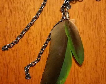 Amazon Parrot Feather Hair Clip with Chains