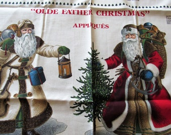 old father christmas appliques vintage cotton craft panel