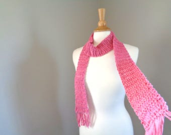 Skinny Scarf, Thin Scarf with Fringe, Bold Pink Scarf, Pop of Color, Knitted Accessory, Women Teen Girls, Cotton Linen
