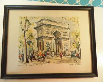 Vintage Framed Marius Girard Lithograph - L'Arc de Triomphe - Paris Street Scene - French Decor