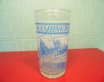 Vintage Libbey Washington DC  Frosted Glass -  District Of Columbia -  8 Oz