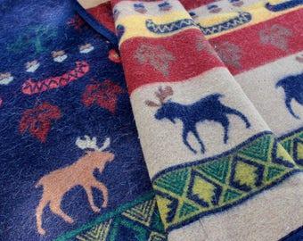 Vintage Wool Blanket Pendleton Moose Canoe Reversible Blue Tan Brown Lodge Camp Rustic Adirondacks