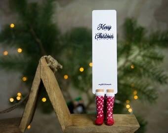 Red and White Knitted Socks bookmark. Christmas socks best gift for mom.
