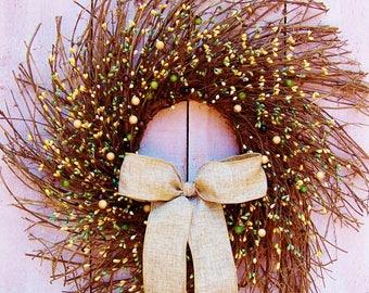 Fall Wreath-Fall Home Decor-Fall Front Door Wreath-Fall Door Wreath-Fall Door Decor-Winter Wreath-BURLAP & BERRY TWIG Door Wreath-Wreaths