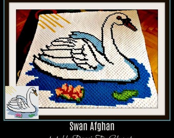 Swan with Water Lily Afghan, C2C Graph, Written Word Chart