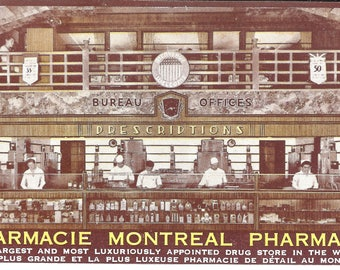 Vintage Postcard...Canada, Montreal, Quebec, Montreal Pharmacy...Unused...no. CAN0013