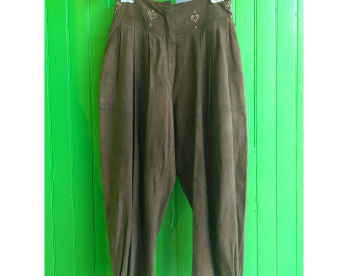 Featured listing image: Vintage Gianni Versace Early 1980s High Waisted Suede Harem Balloon Pants Rare