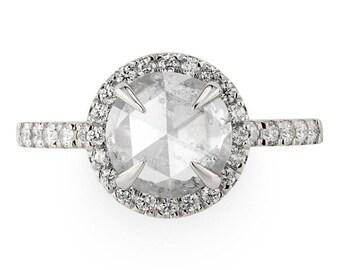1.60 Carat Round Rose Cut Engagement Ring, Fiona Setting, 14k White Gold