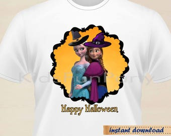 Frozen Halloween Printable Iron On Transfer T-Shirt -  INSTANT DOWNLOAD - Elsa, Anna - Frozen Party Favors