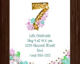 Birthday party invitation, gold number, flowers, 5 by 7, you print, digital file, personalized by me, Child's birthday party invitation