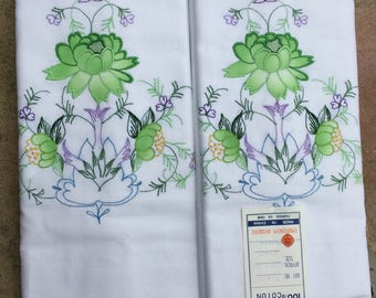 Vintage Pillow Cases  - Set of 2 - Bedding, Shabby Chic, Cottage Charm - Never used