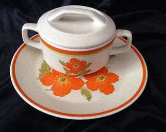 Lenox Temper-Ware Fire Flower plate, bowl, and lid (1).