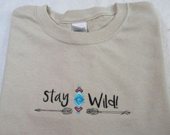 """embroidered """"Stay Wild"""""""