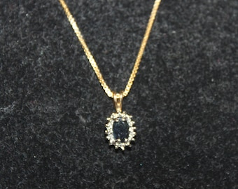 Vintage 18K over Sterling Silver Genuine Sapphire & Diamond Pendant Necklace