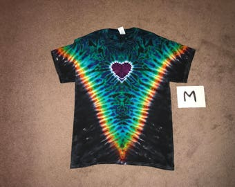 Tie Dye T-Shirt ~ Fire V with Aqua Scrunch w/heart and Black Background i_6087 ~Adult Medium