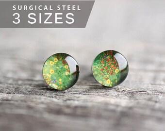 Floral post earrings, Surgical steel stud, Klimt earring studs, Fine art stud earrings, Sunflower