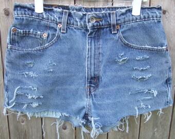 Distressed Levi shorts, Upcycled shorts, Vintage Levi