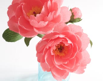 2 coral pink peony-Handmade-crepe paper flowers