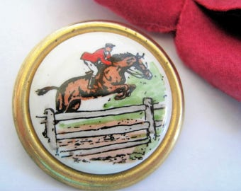 D & E Horse Brooch - Horse Theme Jewelry -  Horse Jumping - Brass Setting - Book Piece