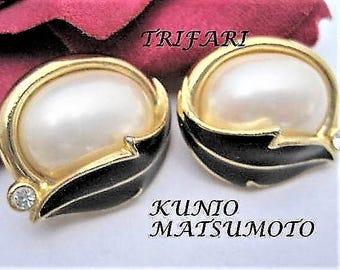 Trifari Kunio Matsumoto Earrings - Signed Vintage Pearl - Statement Earrings -  Wedding Pierced