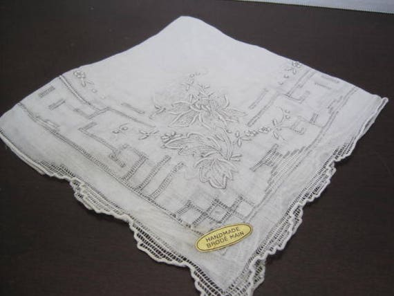 White Brides Hankie -  Openwork Embroidery - Wedding Handkerchief - Orig Sticker