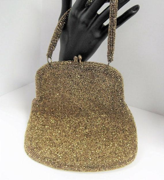 Bronze Beaded Purse by Josef - Hand Beaded - Made in Beligum - Bag Prom Wedding
