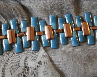 Vintage Renoir of California Matisse Blue Enamel on Copper Peter Pan Bracelet
