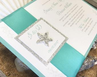 Pocket Wedding Invitation with starfish jewel and Custom Designed Monogram - Fully Customizable!